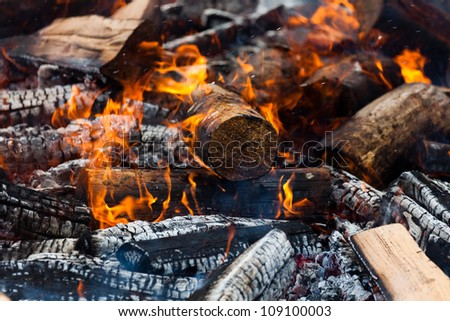 Burning Log and red Flame