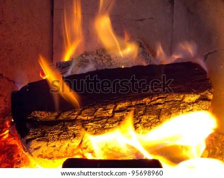Burning logs - stock photo