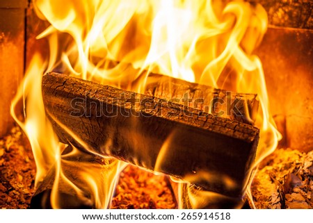 Burning logs in a fireplace - stock photo