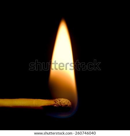 Burning Match Closeup, Isolated Detailed Macro Flame Studio Shot - stock photo
