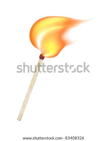 burning match on a white background - stock photo