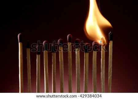 Burning match sticks in a row