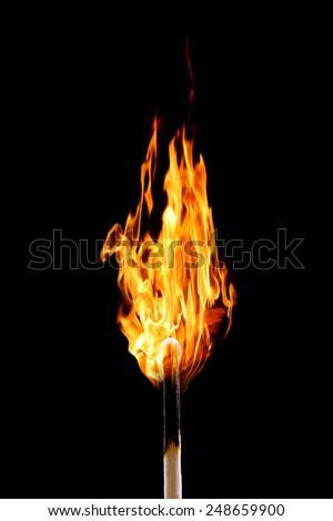 Burning matchstick on black - stock photo