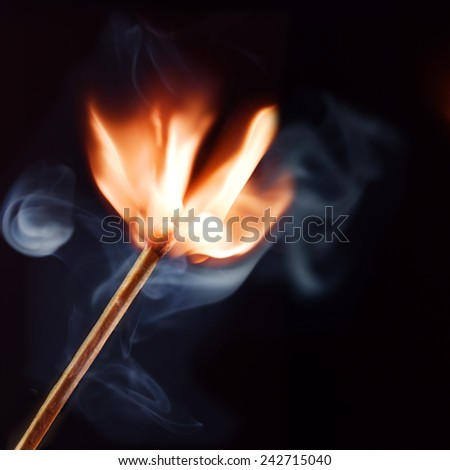 Burning matchstick on black background - stock photo