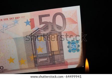 burning money - stock photo