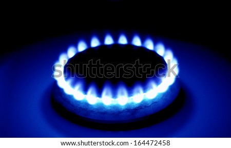 Burning natural gas on the gas burner  - stock photo