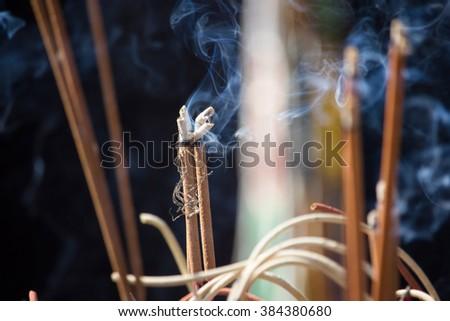 Burning of incense - stock photo