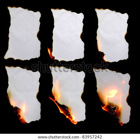 burning paper in dark background - stock photo