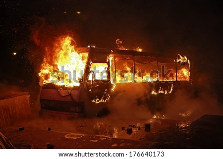 Burning police bus. Kyiv, Ukraine, January 19, 2014