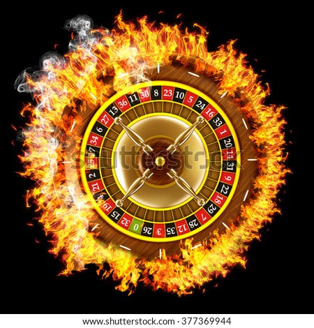 Burning roulette surrounded with flames isolated on black background