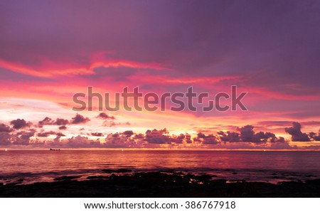 Burning Skies Bright Horizon  - stock photo