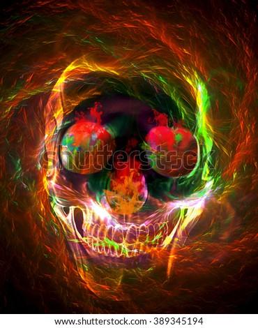 Burning skull illustration - stock photo