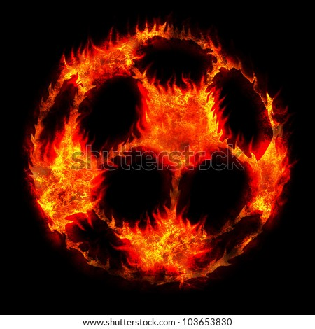 burning soccer football ball fire on black - stock photo