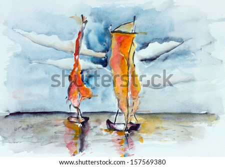 Burning sunset sails the ocean - the concept of adventure and mystery. Handmede watercolor painting illustration - stock photo