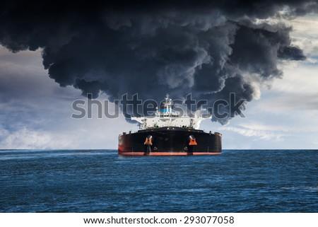 Burning Tanker ship on the sea. - stock photo