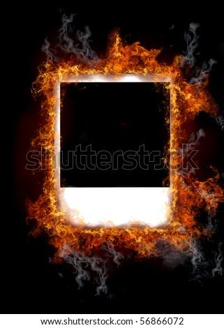 Burning vintage photo frame - stock photo