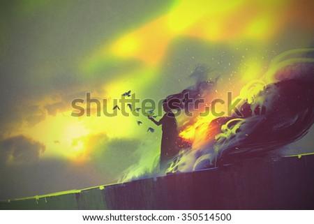 burning woman,illustration painting - stock photo