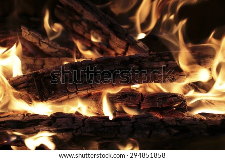 burning wood - stock photo