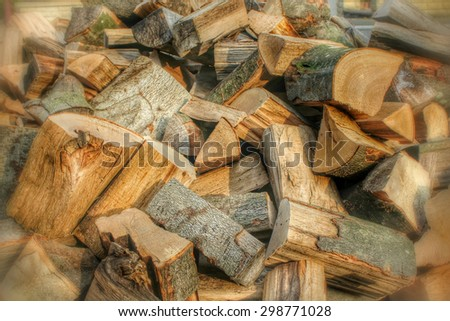 burning wood  - stock photo
