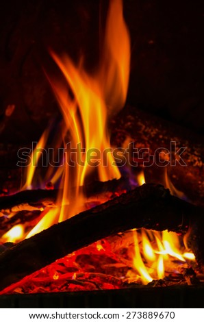 Burning wood and flames in a fireplace. Hot concept - stock photo