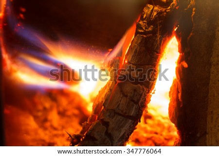 Burning wood. Firewood in the fireplace