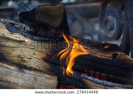 burning wood in the fire - stock photo