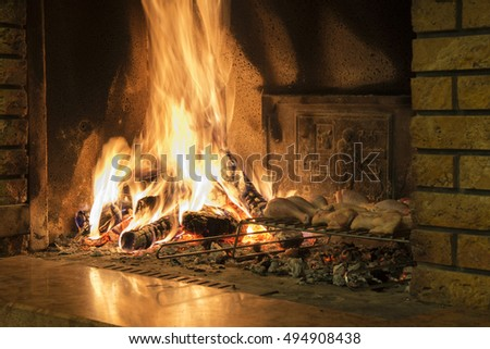 burning wood in the fireplace with high flames