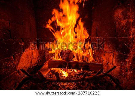 Burning Wood Logs Inside the Fireplace. Fireplace Heat.