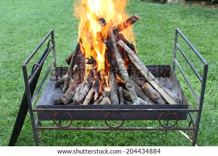 Burning wood on a barbecue - stock photo