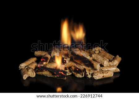 burning wood pellets on black background - stock photo
