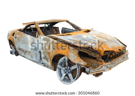 burnout car , Isolation on a white background  - stock photo