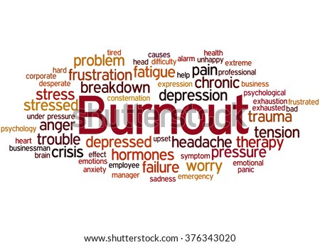 Burnout, word cloud concept on white background.   - stock photo