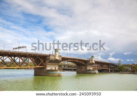Burnside drawbridge in Portland, Oregon on a cloudy day - stock photo