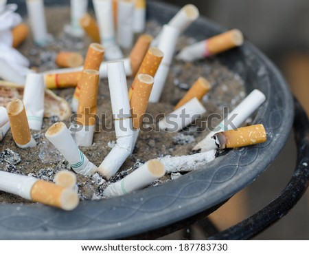 Burnt cigarettes stuck in sand, close up.