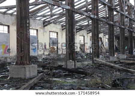 burnt down - stock photo