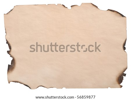 burnt edges paper isolated on white background
