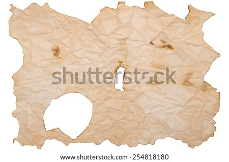 Burnt old paper isolated  - stock photo