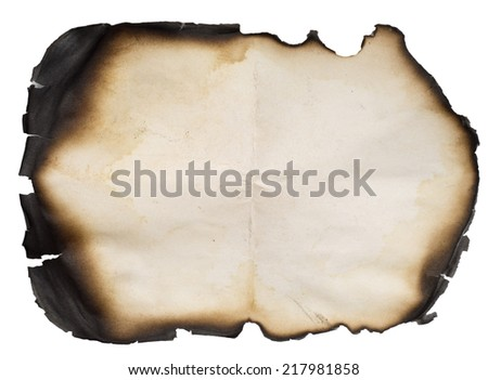 burnt old paper isolated over white background - stock photo