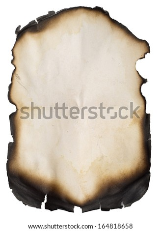 burnt old paper isolated over white background (series) - stock photo