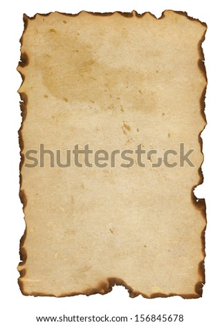 burnt paper isolated on a white background - stock photo