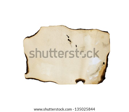 burnt paper on a white background - stock photo
