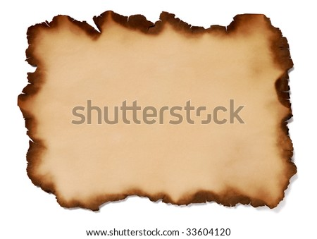 Burnt paper on white background