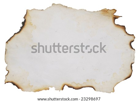 burnt paper over white background