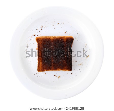 Burnt toast bread on plate, isolated on white background - stock photo