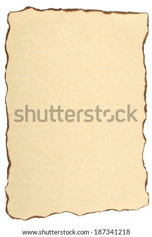 Burnt vintage paper on white background - stock photo