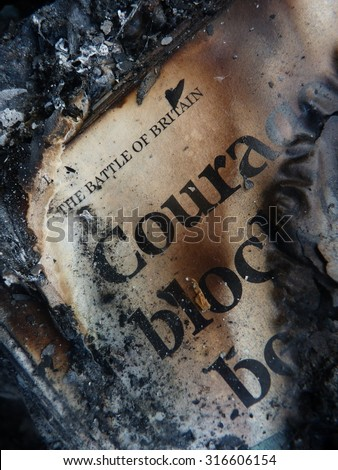 burnt words of newspapers and magazines  - stock photo