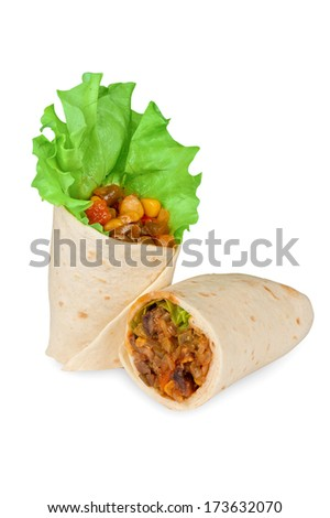 burrito with meat, haricot beans and vegetables - stock photo