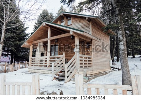 Bursa,TURKEY - FEBRUARY 16TH 2018 : Uludag and chalets winter images.