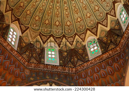 Bursa, Turkey - June 2, 2012: Bursa - Green Mosque. Constructed in 1424, the Yesil Mosque or Green Mosque is so named due to the turquoise tiles used on its adornments, for which it is most famous  - stock photo