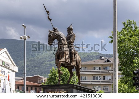 Bursa, Turkey - May 17, 2016: View of Sehrekustu Square in Bursa with the statue of Osman Bey, the founder of the Ottoman Empire. Bursa is the 4th largest city of Turkey in southwest Marmara region.